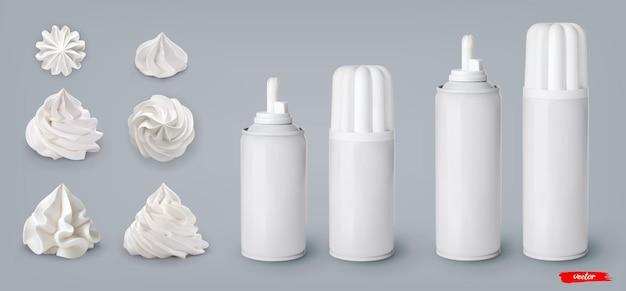 Set di vortici di panna montata e lattine di panna montata su sfondo grigio
