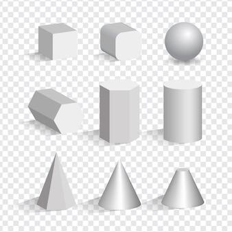 Insieme delle forme diverse di oggetti 3d bianchi. cubo, piramide, cilindro, sfera, cono.