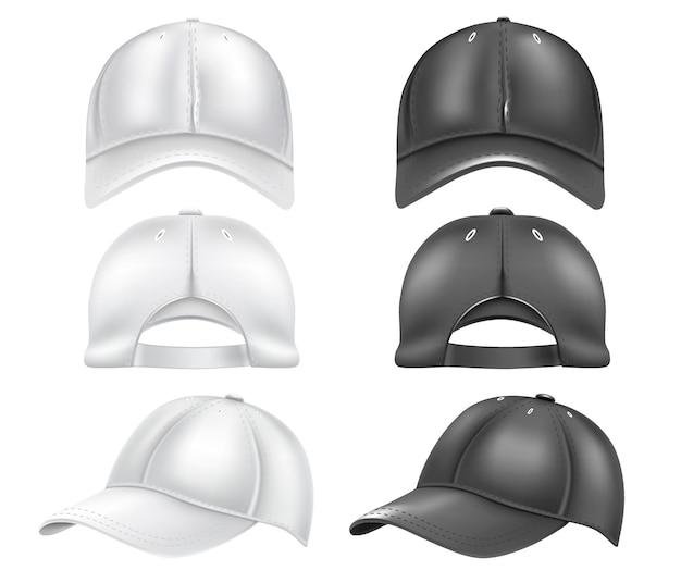Una serie di cappellini da baseball bianchi e neri, isolati su uno sfondo bianco