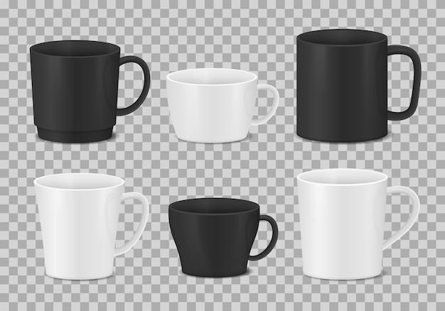 Set di tazze bianche e nere. tazze da caffè realistiche.