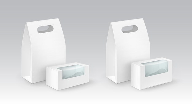 Set di bianco vuoto rettangolo di cartone da asporto manico scatole pranzo imballaggio per sandwich, cibo, regali, altri prodotti con finestre di plastica close up isolato su sfondo bianco