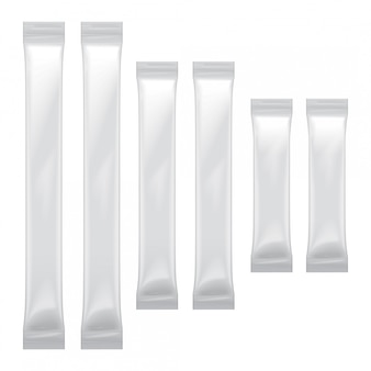 Set di imballaggi in bianco bianco sacchetto di alluminio per alimenti, zucchero, sale, pepe, condimento, confezione in plastica