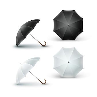 Set di bianco vuoto rotondo ombrellone ombrellone, isolato su sfondo.