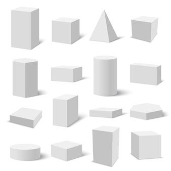 Set di scatole bianche.