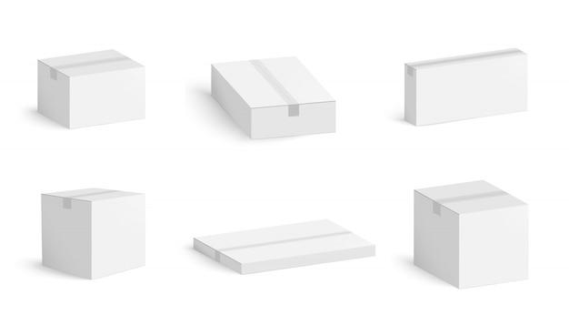 Insieme delle scatole di cartone bianche con ombra isolata. scatola di imballaggio in cartone.