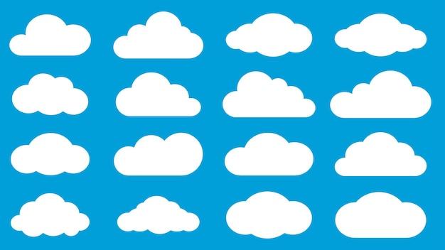 Set di nuvole bianche su sfondo azzurro