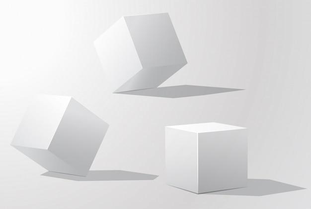 Set di cubi bianchi in diverse proiezioni