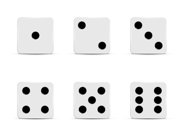 Set di dadi bianchi.