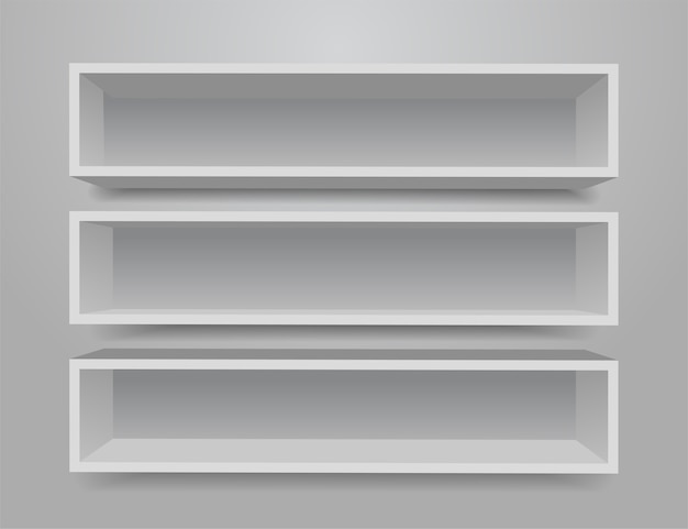 Set di mensole mobili diversi bianchi.