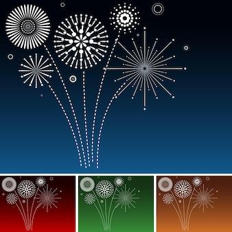 Set di fuochi d'artificio bianchi che esplodono su diversi cieli colorati