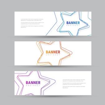 Set di bandiere orizzontali bianche con stelle multicolori.