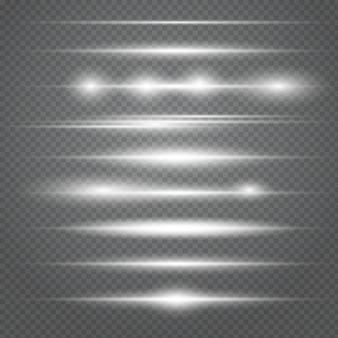 Set di razzi bianchi orizzontali. raggi laser, raggi di luce orizzontali. bellissimi bagliori di luce.