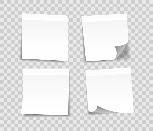 Set di adesivi nota bianca. fogli realistici per fogli di appunti.