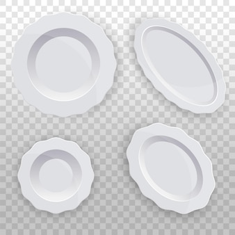 Servizio di piatti bianchi con bordo ondulato stoviglie pulite per la cucina porcellana
