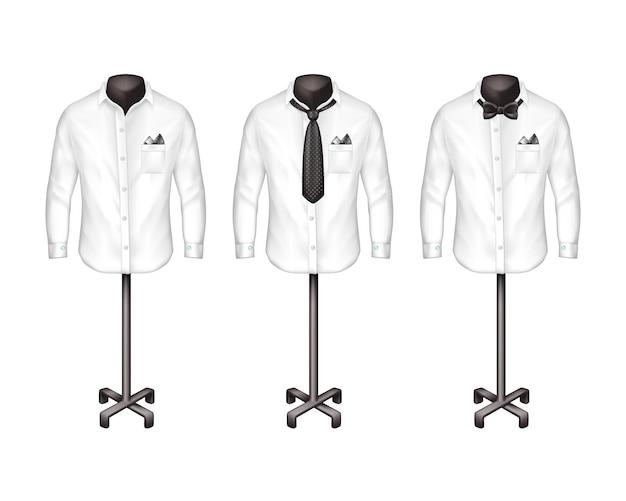 Set di camicie bianche con cravatta, farfallino su cavalletti, grucce di fronte