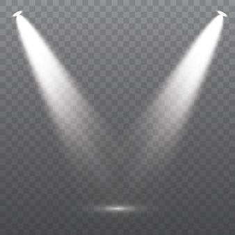 L'insieme dei riflettori bianchi brilla sulla scena del palcoscenico