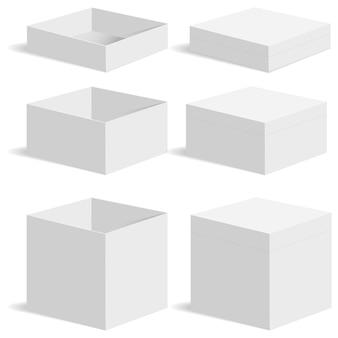 Set di modelli di scatole quadrate bianche.