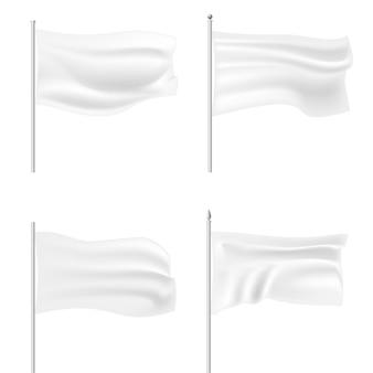 Set di modello di bandiera sventolante bianco.