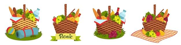 Set di cestini da picnic in vimini pieni di cibo sano