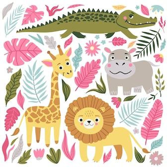 Insieme di animali esotici selvatici che vivono nella savana o nella giungla tropicale.