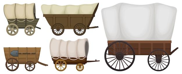 Set di vagone selvaggio west isolato su bianco