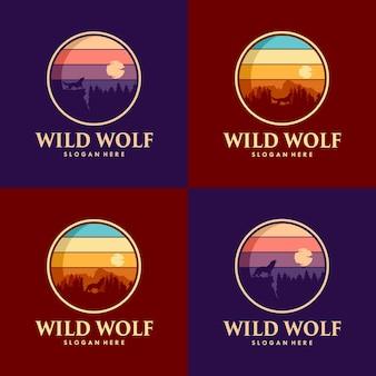Set di design del logo del lupo selvaggio