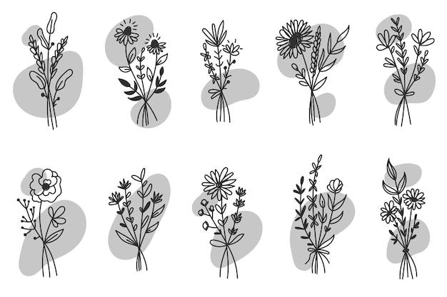 Set di fiori di campo. icone floreali, elementi floreali disegnati a mano di vettore, disegno della raccolta di scarabocchi, partecipazione di nozze, invito.