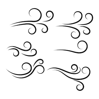 Insieme di disegno dell'illustrazione di vettore dell'icona del vento