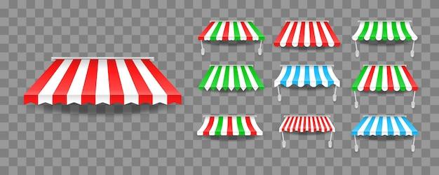 Serie di tende da sole a baldacchino per negozi e ristoranti di strada Vettore Premium