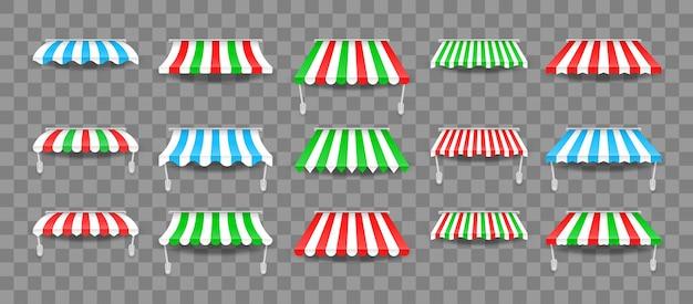 Set di tendalini per finestre. tende da sole colorate a righe per negozi, hotel, bar e ristoranti di strada.