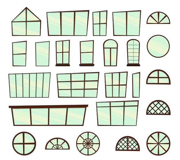 Set di finestre per l'illustrazione del design