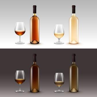 Set di bottiglie di vino e bicchieri