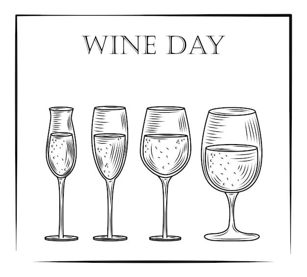 Set di alcol bicchiere di vino in stile disegnato a mano