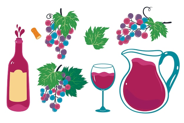 Insieme di elementi grafici del vino isolati su sfondo bianco