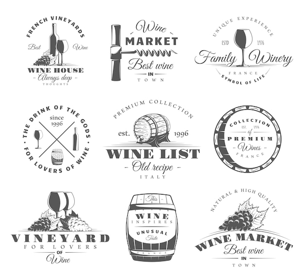 Set di etichette di vino su bianco