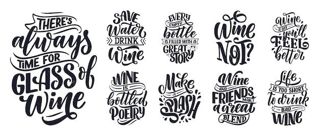Insieme di composizioni di lettere di vino sul vino
