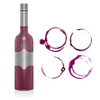 Insieme di macchie di vino, cerchi isolati. consistenza del vino con forma di cerchi