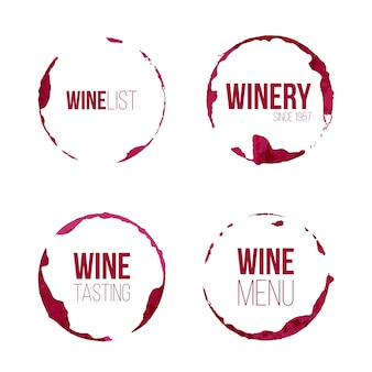Insieme di macchie di vino con testo diverso.