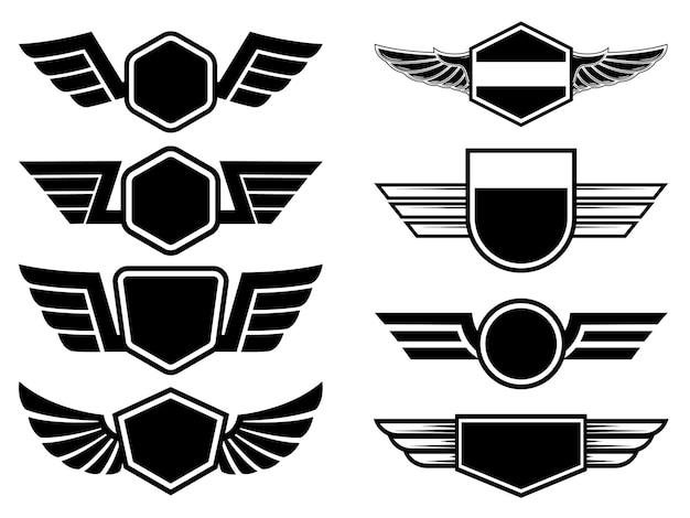 Set di illustrazione di emblemi alati