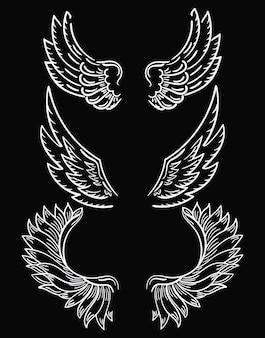 Set di ali. collezione di ali in bianco e nero per clipart. ali d'angelo astratte.