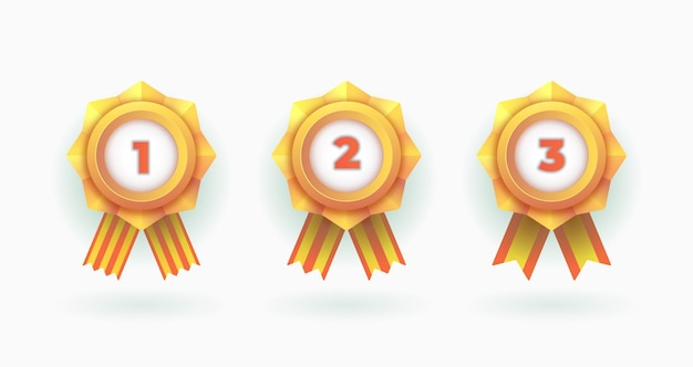 Set di medaglie winner badge champions Vettore Premium