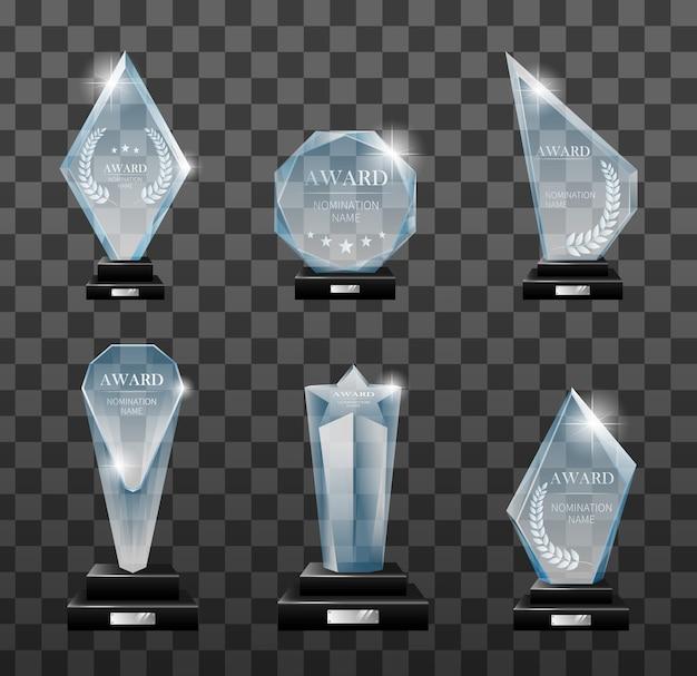 Set di piatto podio vincitore con riflesso a specchio