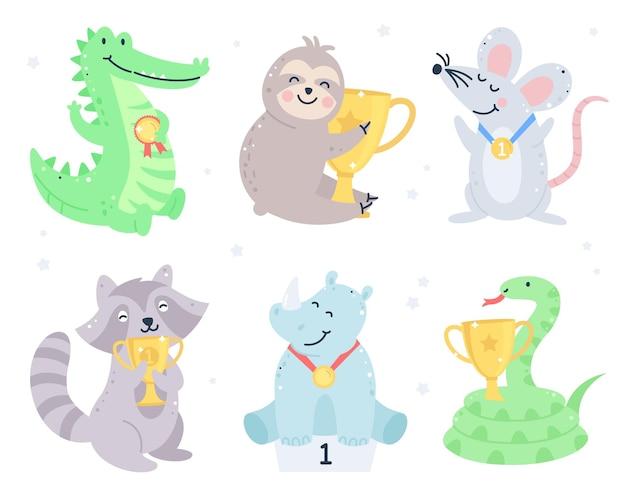 Set di animali vincitori con medaglie d'oro e coppe