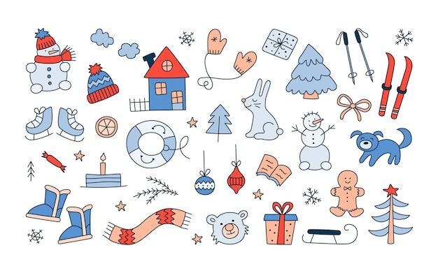 Set di oggetti natalizi invernali in stile doodle. collezione disegnata a mano