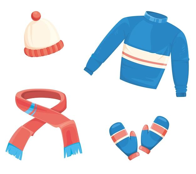 Set di abiti invernali in stile cartone animato.