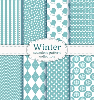 Set di modelli senza cuciture invernali con colori blu e bianchi pallidi
