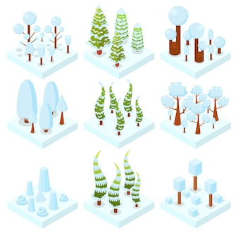 Set di alberi d'inverno. bosco. zona forestale. elementi 3d isometrici per giochi, mappe. fogliame arancione, rosso e giallo. illustrazione vettoriale.