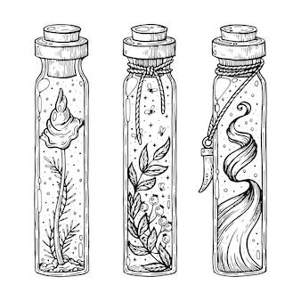 Un set di pozioni di streghe illustrazione artistica realizzata a mano con penna e inchiostro