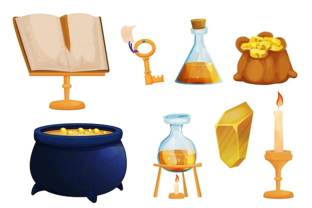 Set strumenti di stregoneria bottiglie magiche con pozione liquida vecchio libro chiavi d'oro calderone e borsa