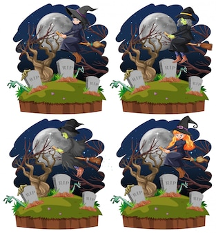 Set di streghe con tomba in stile cartone animato isolato su sfondo bianco